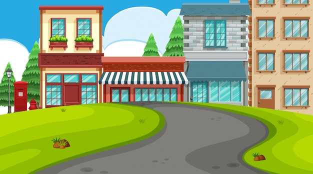 Een openluchtscène met winkels