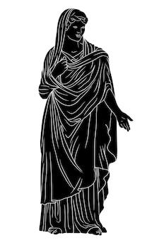 Een oude griekse jonge vrouw in een tuniek en cape staat en gebaart.