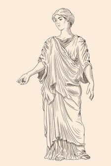 Een oude griekse jonge vrouw in een tuniek en cape staat weg en gebaart. antieke gravure.