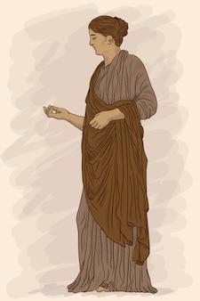 Een oude griekse jonge vrouw in een tuniek en cape staat weg en gebaart.