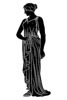 Een oude griekse jonge vrouw in een tuniek staat en kijkt weg.