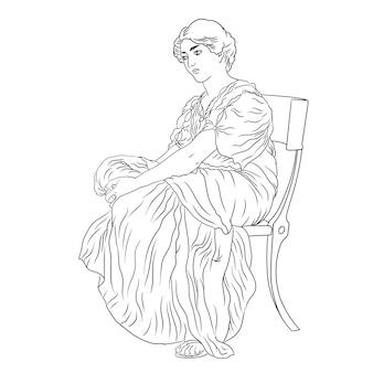 Een oude griekse jonge vrouw in een tuniek zit op een stoel figuur geïsoleerd op een witte achtergrond