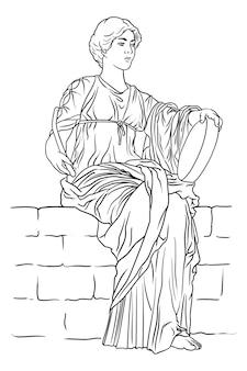 Een oude griekse jonge vrouw met een tamboerijn en een klopper in haar handen zit op een stenen borstwering.