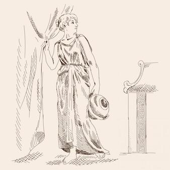 Een oude griekse vrouw staat met een kan in haar handen bij de gordijnen.