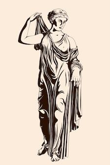 Een oude griekse vrouw staat op en trekt een jurk aan.