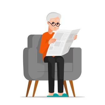 Een oude man die een krant las