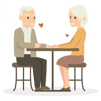 Een oude man en zijn vrouw dineren op valentijnsdag