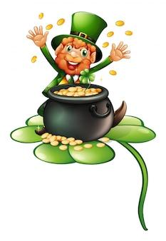 Een oude man in een groene kleding met een pot munten