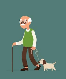 Een oude man loopt samen met zijn hond