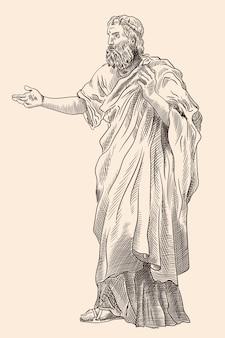 Een oude man met een baard in oude griekse kleren staat en gebaart. imitatie van antieke gravure.