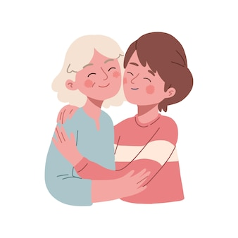 Een oude moeder knuffelt haar volwassen kind