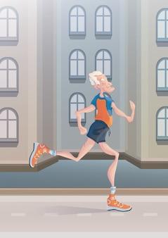 Een oudere grijsharige man oefent joggen op straat in de stad. actieve levensstijl en sportactiviteiten op oudere leeftijd. vector illustratie.