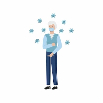 Een oudere man heeft een coronavirus. een oude man tegen een achtergrond van virussen. vector plat karakter.