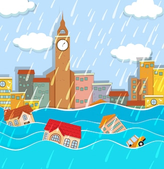 Een overstroming in big city
