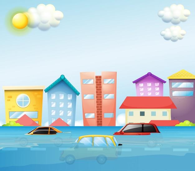 Een overstroming in de grote stad