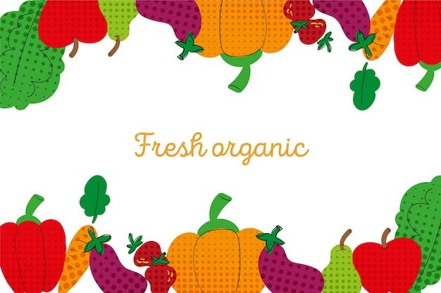 Een overzicht van groenten en fruit achtergrond met kleurrijke halftoon