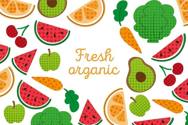 Een overzicht van groenten en fruit behang met kleurrijke halftoon