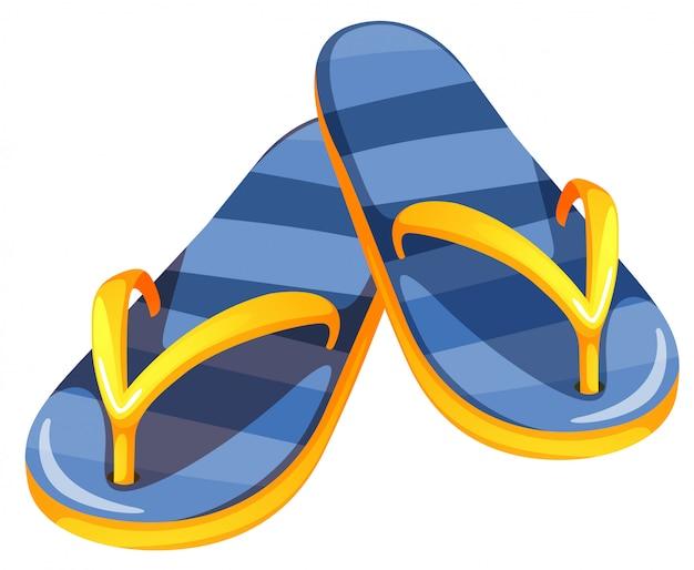 Een paar blauwe sandalen