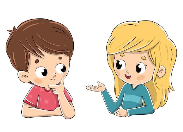 Een paar kinderen die onderling praten