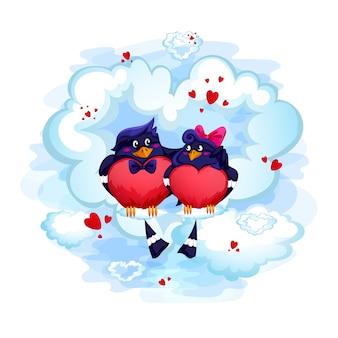 Een paar liefhebbers vogels zitten op een wolk. valentijnsdag kaart.
