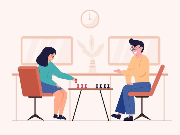 Een paar mannen en vrouwen schaken in een schaakwedstrijd.
