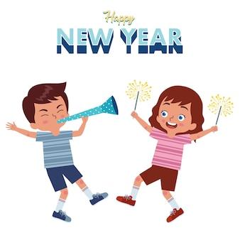 Een paar meisjes en jongens vieren samen het nieuwe jaar door op trompetten te blazen en vuurwerk te houden