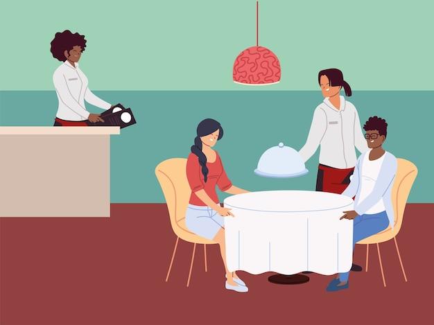 Een paar mensen zitten aan tafel en bestellen een maaltijd