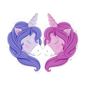 Een paar schattige eenhoorns in de vorm van een hart. blauw en roze, jongen en meisje. vectorafbeeldingen. eps10-formaat.