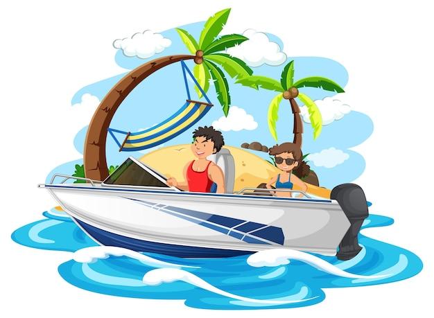 Een paar staande op een speedboot op wit