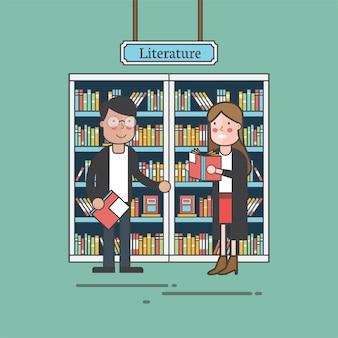 Een paar vrienden bij literatuur