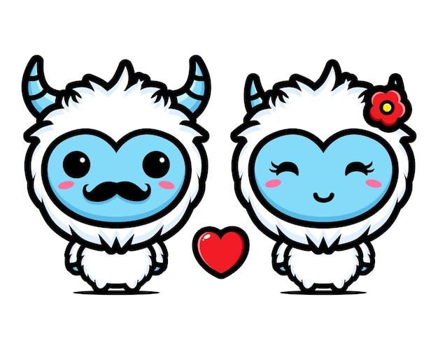 Een paar yeti's worden verliefd op elkaar