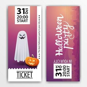 Een paars kaartje voor het halloween-feest
