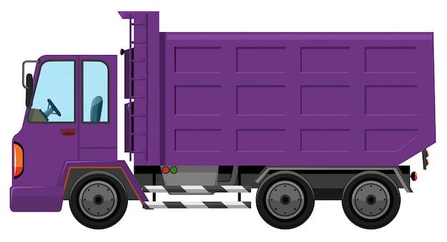 Een paarse vrachtwagen