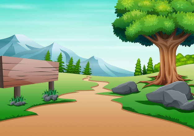 Een pad naar de berg met lege verkeersbord