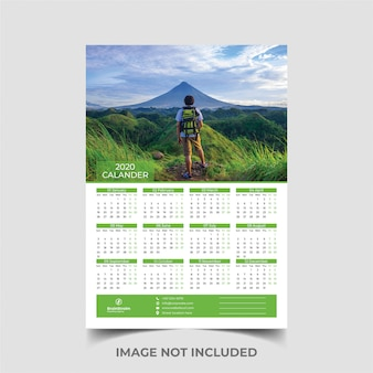 Één pagina wandkalender 2020-sjabloon
