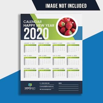 Eén pagina wandkalender 2020