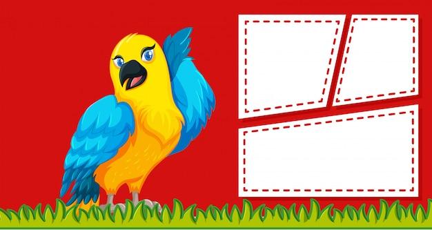 Een papegaai op lege notitie sjabloon