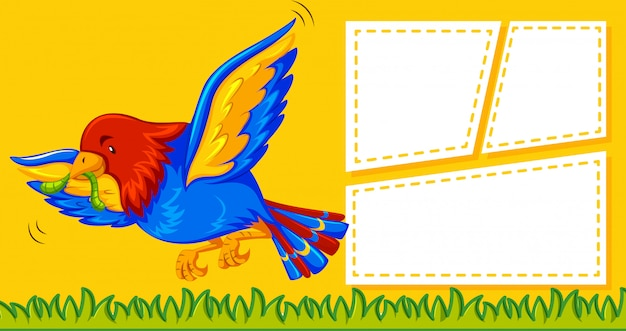 Een papegaai op notitiesjabloon