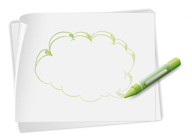 Een papier met een afbeelding van een toelichting en een kleurpotlood