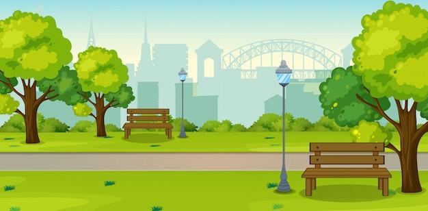 Een park in stedelijke stad
