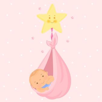 Een pasgeboren baby die in een ster drijft