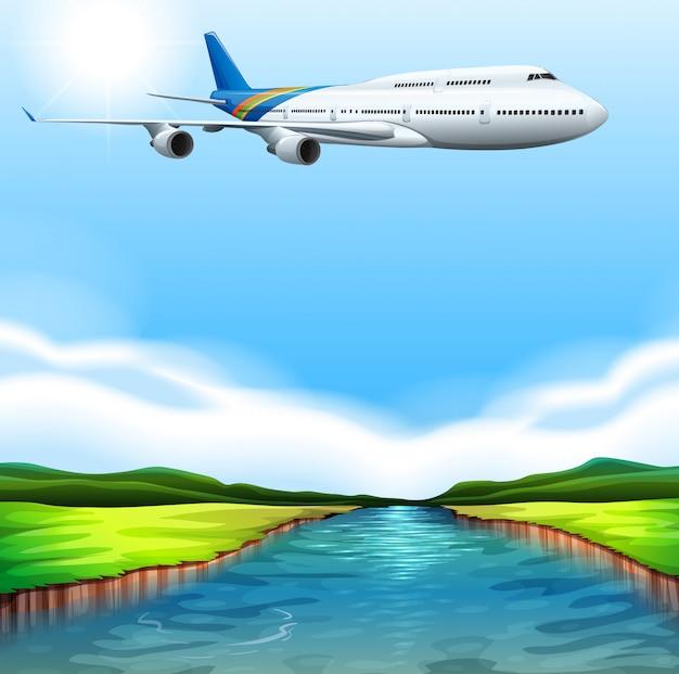 Een passagiersvliegtuig vliegt