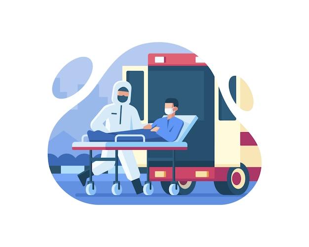 Een patiënt die leed aan coronavirus werd door medische agenten in een ambulance gestopt