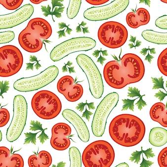 Een patroon van komkommers, tomaten en peterselie.