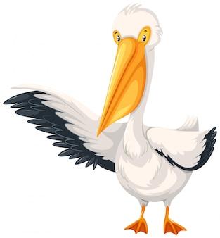 Een pelikaankarakter op witte achtergrond