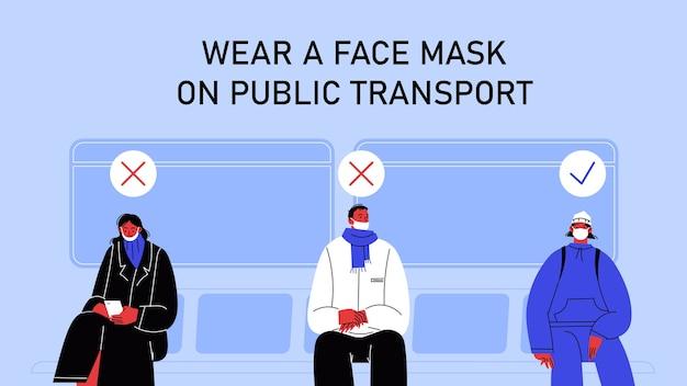 Een persoon die een masker op de kin draagt, een persoon die de neus niet bedekt en een persoon die een masker draagt, zit op de juiste manier in het openbaar vervoer.