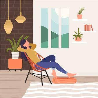 Een persoon die thuis illustratie ontspant