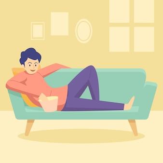 Een persoon die thuis ontspant