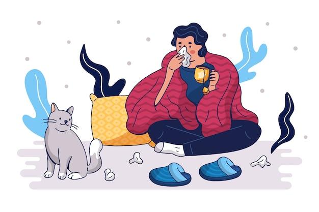 Een persoon die verkouden is en thuis blijft