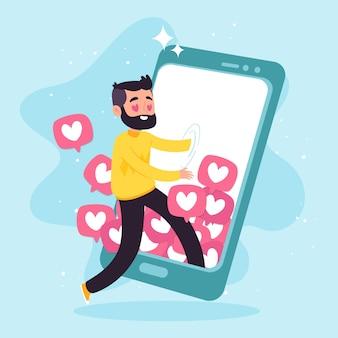 Een persoon die verslaafd is aan sociale media-concept